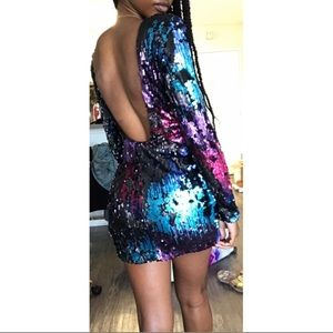 Nasty Gal Dresses - Small Nasty Gal Colorful Sequin Backless Dress